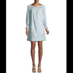 M.i.h Jeans Reyes Boat-Neck Embroidered Linen Cotton Dress Size XS